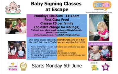 'TINYTALK' Baby Signing Classes – Now at Escape Every Monday Term Time Only