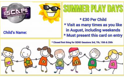 Summer Play Days…. £30 for as many play sessions as you like throughout August!