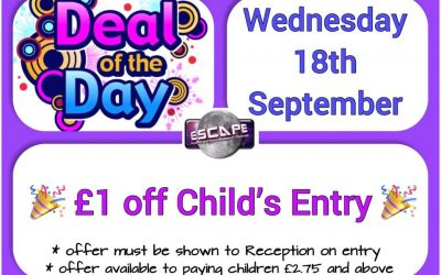 Deal of the Day – Wednesday 18th September – £1 off Entry